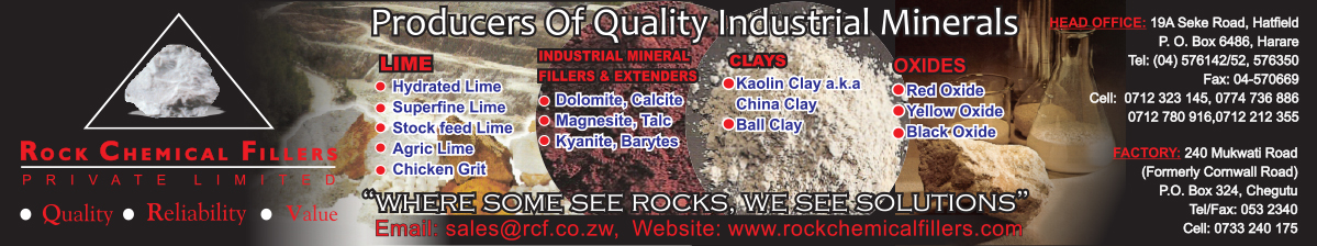 Rock Chemical Fillers (RCF) Processors and Suppliers of Kaolin, Red Oxide, Yellow Oxide, Back Oxide, Hydrated Lime, Stock Feed Lime, Agricultural Lime, Dolomite, Calcite, Talc and Chicken Grit